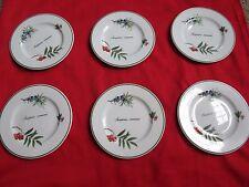 """Dessert/Pie Plate in """"Elysian Gardens"""" by Apilco France Porcelain, set of 6"""