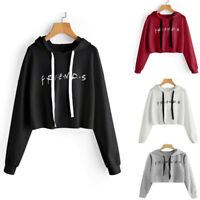 Women Crop Hoodies Tops Sweatshirts Autumn Long Sleeve Pullover Hoodie Hooded