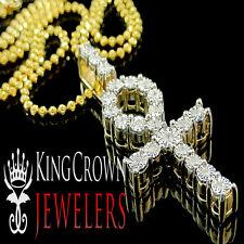 Genuine Diamond Ankh Cross Pendant Charm Chain Set In Yellow Gold Finish 0.75Ctw