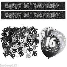 Black 16th Birthday Banner Party Decoration Pack Kit Set Balloon Glitz Unisex