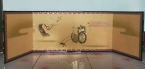 Janpanese 3 panel floding screen hina doll horse Carriage /paper