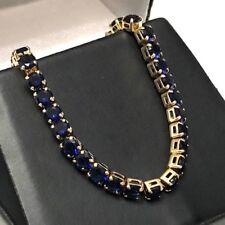 Blue Round Sapphire Tennis Bracelet 18K Gold Plated Women Wedding Jewelry Gift