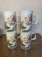 Dunoon Coffee Tea Mugs Cups Scotland Set of 4 Floral EUC Gorgeous Stoneware