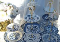 WEDDING Cake Stand, BLUE WILLOW, 3 TIER, Tiered SERVING TRAY, BLUE WHITE CHINA