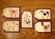 5 Handcrafted Wooden COUNTRY FARM ANIMALS Hang Tags/Ornaments/GiftTags SET11