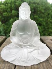 White Art Colored Glass Pate-De-Verre Lost Wax Medicine Buddha Crystal Statue
