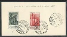1955 ITALIA FDC PETROLIO - FRANCOBOLLI APPLICATI SU CARTONCINO