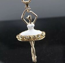 Betsey Johnson Necklace BALLET Pretty Dancer Ballerina  White CRYSTALS  Enamel