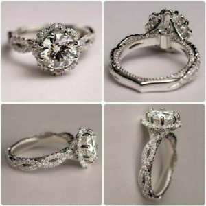2.70 CT White Round Cut Diamond Engagement Wedding Ring In 925 Sterling Silver