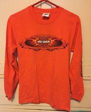 Harley-Davidson Cycle Connection Joplin, MO Orange W/Flame Sleeves LS S T Shirt