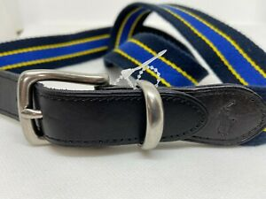 Polo Ralph Lauren Leather Blue Strap Striped Fabric Belt Silver Buckle Polo Logo
