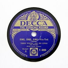 """TEDDY FOSTER & HIS KINGS OF SWING """"Sing, Sing, Sing"""" (E) DECCA F-6094 [78 RPM]"""