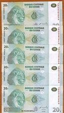 LOT Congo D.R., 5 x 20 Francs 2003 P-94, JB-A UNC > Lions