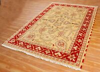 Indian Hand Knotted 100% Wool Carpet  'Halasthen' Handmade Area Rug 5x8 ft