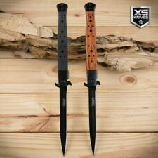 "2pc Set Large STILETTO 13"" Long G10 Wood Spring Assisted Pocket Knife Tactical"