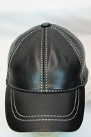 Black 100% Genuine Real Lambskin Leather Baseball Cap Hat Visor WHITE THREAD NWT