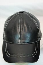 Black 100% Genuine Real Lambskin Leather Baseball Cap Hat Visor WHITE THREAD NWT