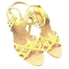 96ba90208880 Kenneth Cole Reaction Womens Cork T-Strap Sandals Mustard Orange You Glad  7.5M