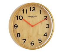 London Clock Company Oslo 33cm Wall Clock WOODEN WITH ORANGE HANDS