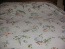 VINTAGE SHOWER CURTAIN BEACH STARFISH SHELLS PINKS STANDARD SIZE 68 BY 68