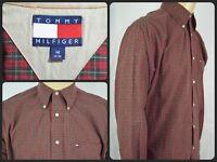 Vtg Tommy Hilfiger Red Green Tartan Plaid L/S Btn Front Casual Shirt Mens Medium