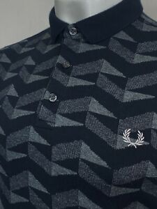 Fred Perry   Graphic Jacquard Polo Shirt M L (Black) Mod Ska 60's Scooter Skins