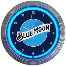 "Blue moon  Neon Clock sign bar Man cave wall lamp 15"" quartz clock Orange beer"