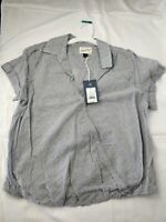 Women's Wrap Front Short Sleeve Top Medium Large Universal Thread Gray Stripes
