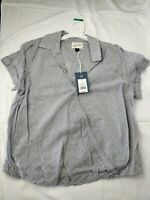 Women's Wrap Front Short Sleeve Top Medium Universal Thread Gray Stripes