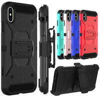 For Apple iPhone X/XS/XR/XS Max Phone Case Belt Clip Kickstand Heavy Duty Cover