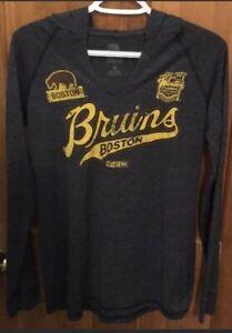 CCM Boston Bruins Women's Hooded Long Sleeve Shirt New Nhl Hockey Winter Classic
