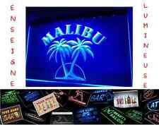 RARE PANNEAU PUB RHUM MALIBU RETRO LED ENSEIGNE BAR CAFE LUMINEUSE NEON LAMPE