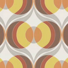 Circle Wallpaper Retro Luxurious Paste The Wall Vinyl Brown Yellow Orange Rasch