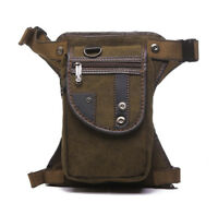 Leg Bag for Men Canvas Motorcycle Rider Drop Thigh Hip Belt Waist Fanny Pack