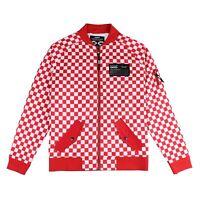 Men's Outdoor Performance Full Zip Jacket Red-White Plaids Bomber Jacket M - 2XL
