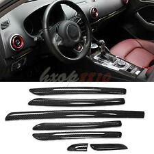 7pc For Audi A3 S3 8V 2012-16 Car Carbon Fiber Inner Door Co-pilot Decorate Trim