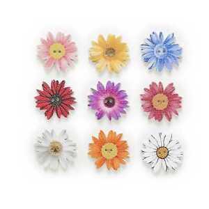 30pcs Flower Pattern Flower Wood Buttons for Sewing Scrapbooking handmade Decor