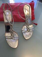 RENE CAOVILLA VENEZIA crystal heels woman's shoes sandals 40/10  Black silver