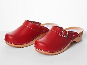 Women's Work Clogs Garden Kitchen Hospital Nurse Slip On Leather Shoes Size Red