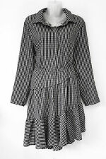 H&M black & white gingham checked asymmetric dress - Gothic smart casual sml 18