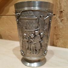 "Rein Zinn Etain Pur 95% Pewter Cup Goblet Ornate Village Scene 4.5""- Swanky Barn"