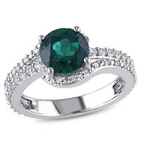 Amour Sterling Silver Created Emerald, Created White Sapphire and Diamond Ring