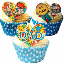 Pack of 12 Pre-Cut Edible Wafer Decorations - Fathers Day Hearts