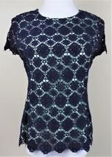 VINCE CAMUTO~Sz M~Mint Green w/ Blue Embroidery~Back Exposed Zip~Cap Sleeve~Top