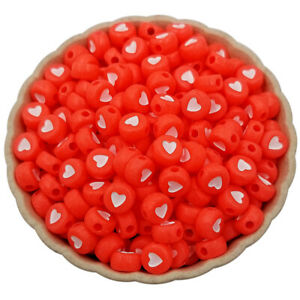 300pc 7mm White Opaque Acrylic Flat Round Heart Beads Pony Disc Coin Spacer