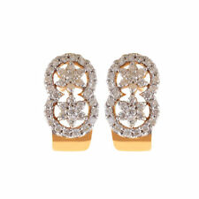 Pave 1.28 Cts Natural Diamonds Stud Earrings In Fine Certified 18K Yellow Gold