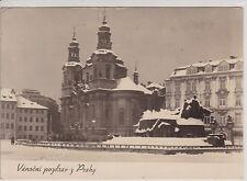 PRAGUE, CZECH. WINTER PRAGUE. STATUE OF JOHN HUS. VINTAGE REAL PHOTO POSTCARD