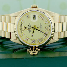 Rolex President Day-Date Yellow Gold 36mm Watch w/Champagne Roman Diamond Dial