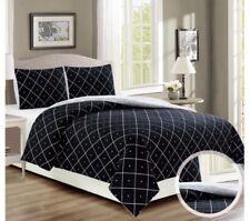 Duvet Cover Bed Linen Quilt Double Black Grey Geometric Reversible Bedding Set