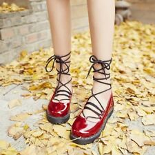 Women Retro Leather Strappy Hollow Ankle Lace Up Flats Oxford Stylish Shoes